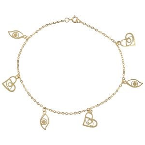 Noemi Eyes Charm 18ct Gold Chain Bracelet