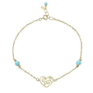 Aria 18ct Yellow Gold Love Heart Bracelet