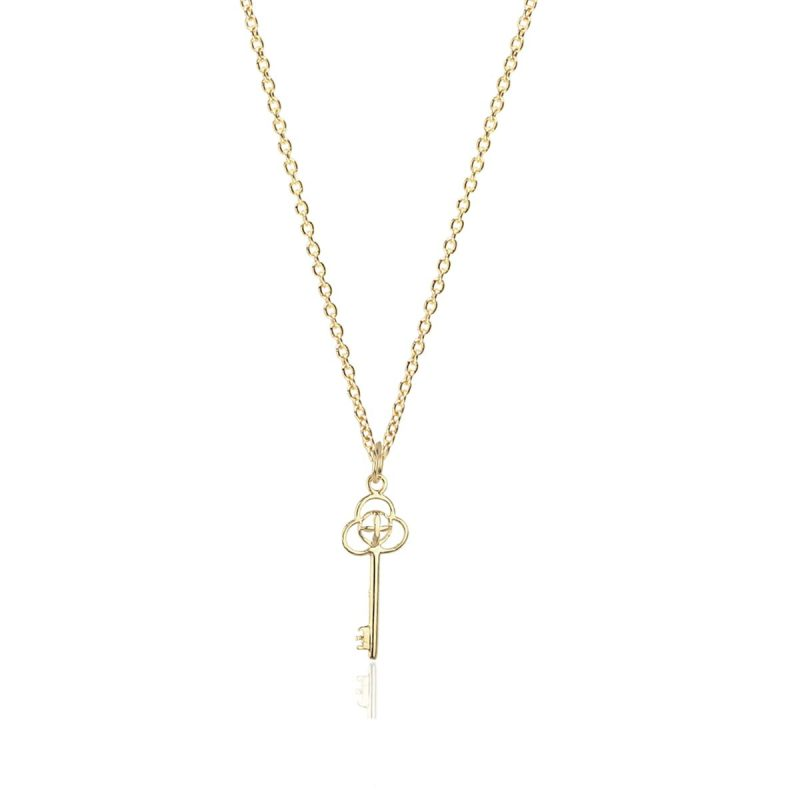 Noemi Key 18ct Gold Pendant Charm With A Chain