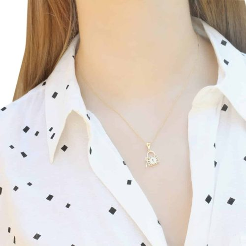 Noemi Lock & Key 18ct Gold Pendant Charm On A Gold Chain Worn By A Model