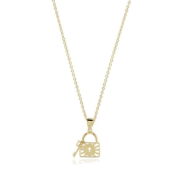 Noemi Lock & Key 18ct Gold Pendant Charm On A Gold Chain