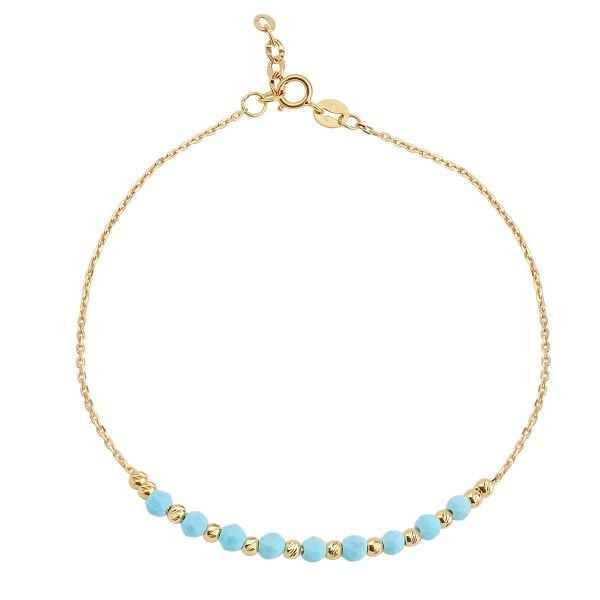 Turquoise 18ct Gold Chain Bracelet