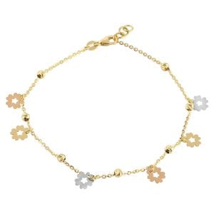 Flower Charm 18ct Gold Chain Bracelet in rose, white gold.