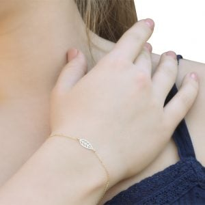 Noemi Capri Leaf 18ct Gold Chain Bracelet On A Models Wrist