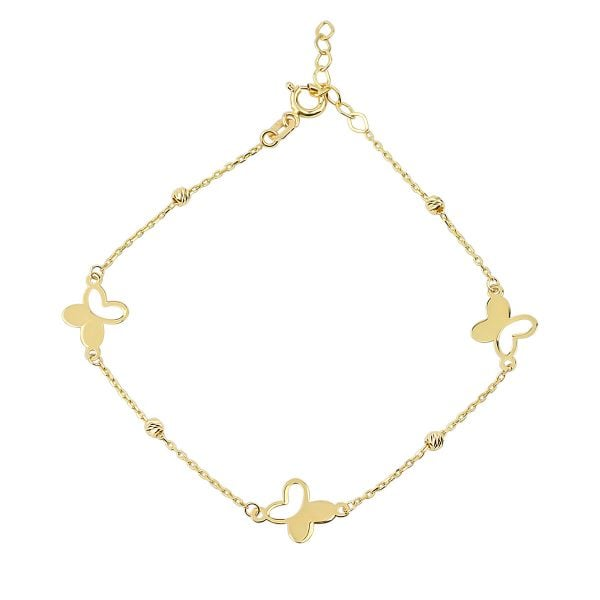 Noemi Umi Butterfly Cluster 18ct Gold Chain Bracelet