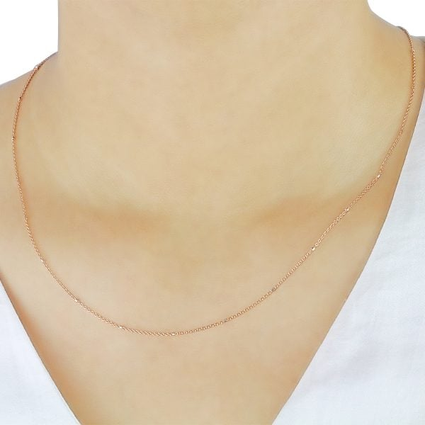 18ct Rose Gold 18inch Trace Chain