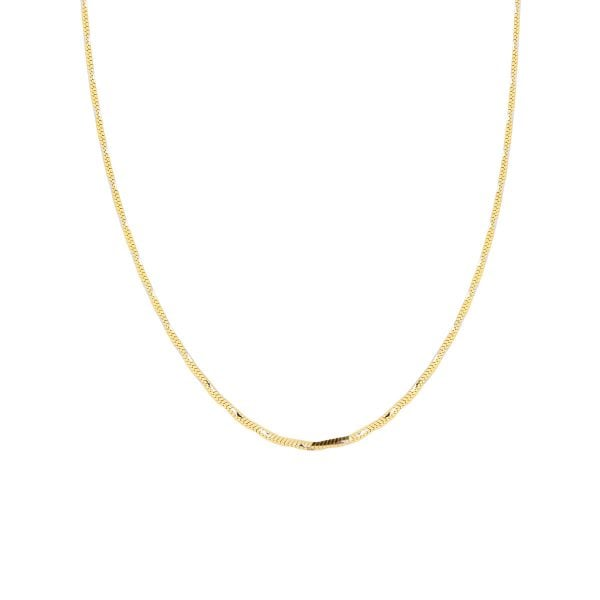 18ct Yellow Gold 17inch Square Snake Chain Necklace