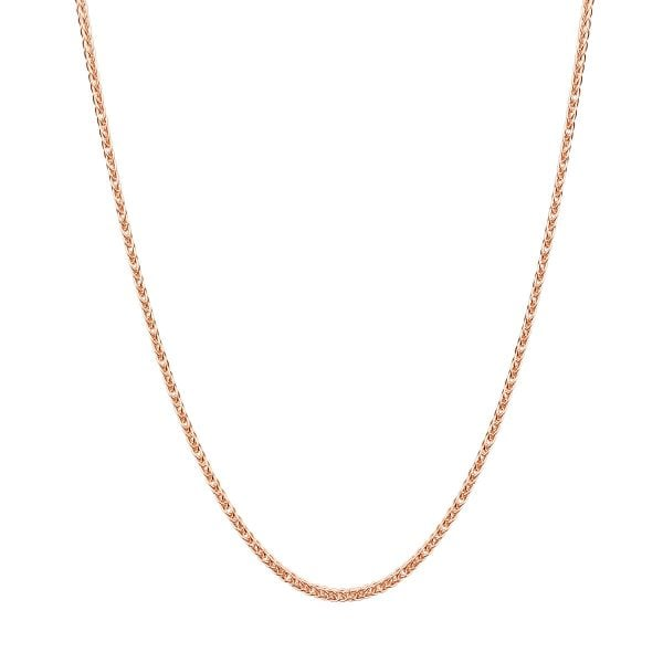 Sipga 18ct Rose Gold 17inch Wheat Chain Necklace