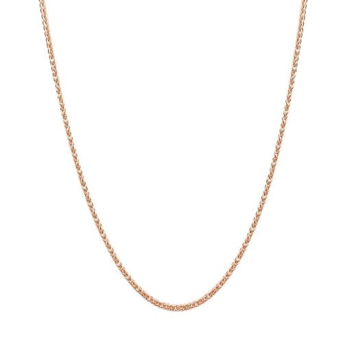 18ct Rose Gold Spiga Wheat Chain Necklace