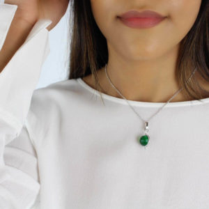 Green gemstone necklace made in sterling silver Worn By A Model