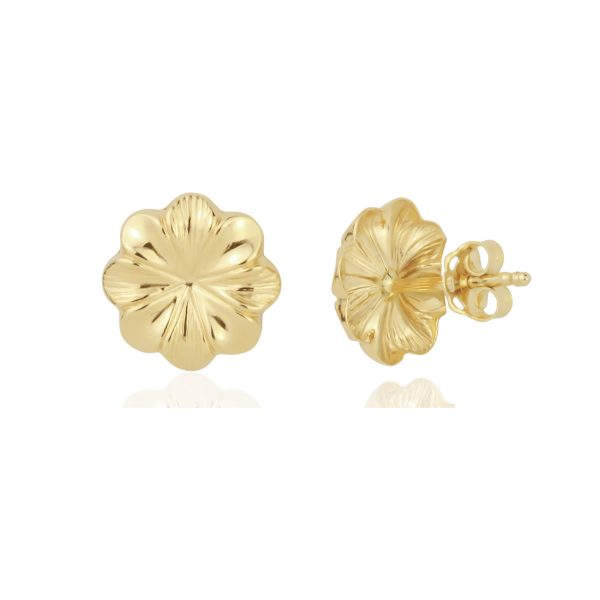 18ct Yellow Gold Flower Stud Earrings