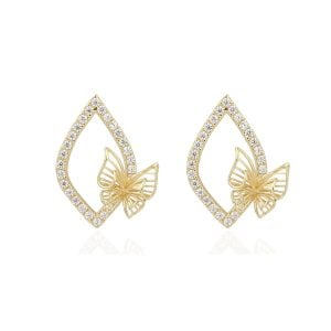 Gia Butterfly 18ct Yellow Gold Stud Earrings