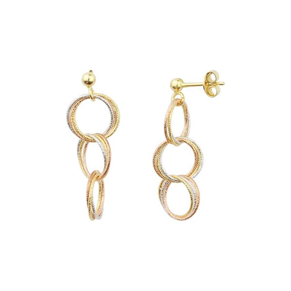 Cali Circle 18ct Gold Drop Earrings Side View