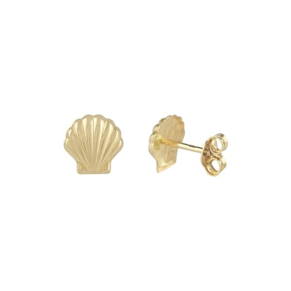 Seashell 18ct Yellow Gold Stud Earrings