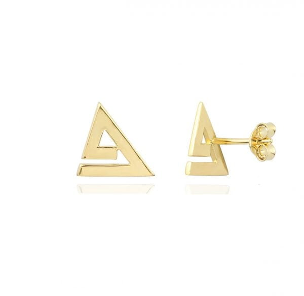 Noemi Triangle Geometric 18ct Gold Stud Earrings