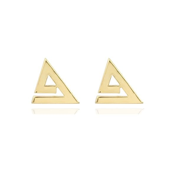 Triangle Geometric 18ct Gold Stud Earrings