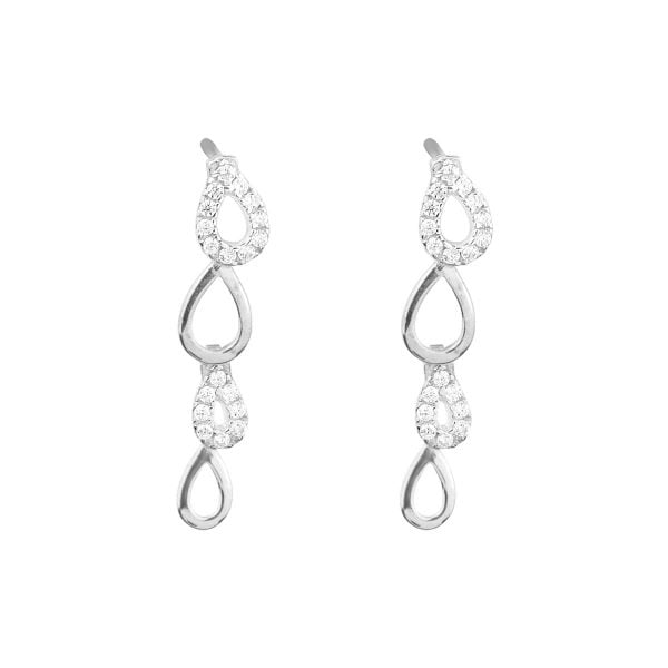 Gia Peardrop 18ct White Gold Drop Earrings