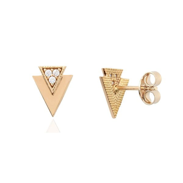 Gia Triangle 18ct Rose Gold Stud Earrings