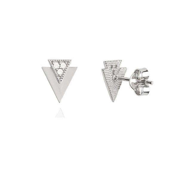 Gia Triangle 18ct White Gold Stud Earrings