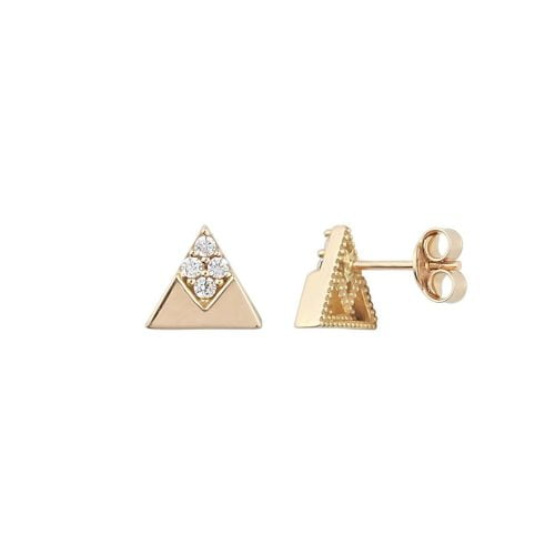 Gia Triangle 18ct Rose Gold Earrings