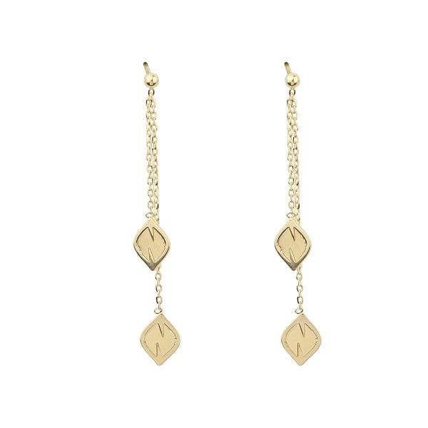 Noemi Leaf 18ct Yellow Gold Drop Earrings