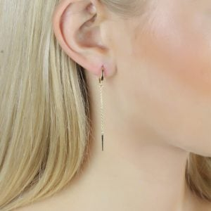 Auric Zing 18ct Gold Drop Earrings Side View On A Model