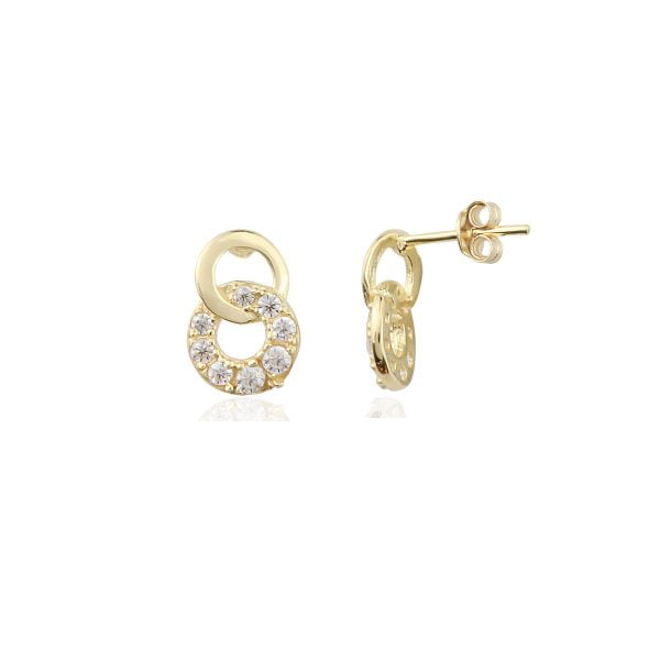 Gia Double Circle 18ct Gold Stud Earrings Side View