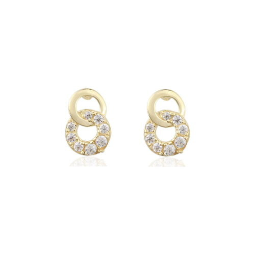 Gia Double Circle 18ct Gold Stud Earrings