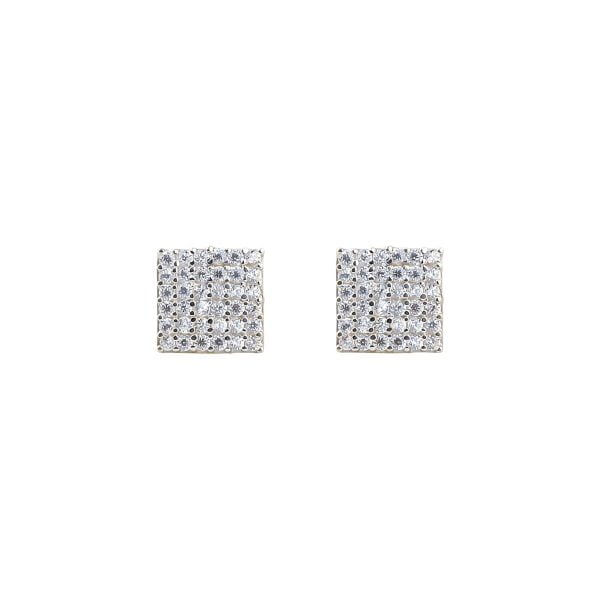 Gia Square 18ct Gold Stud Earrings