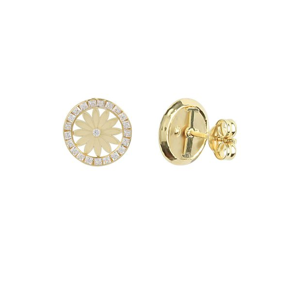 Back View Of Serena Sunflower 18ct Gold Stud Earrings