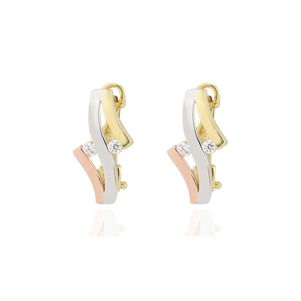 Cali Swirl 18ct White, Rose & Gold Clip On Earrings