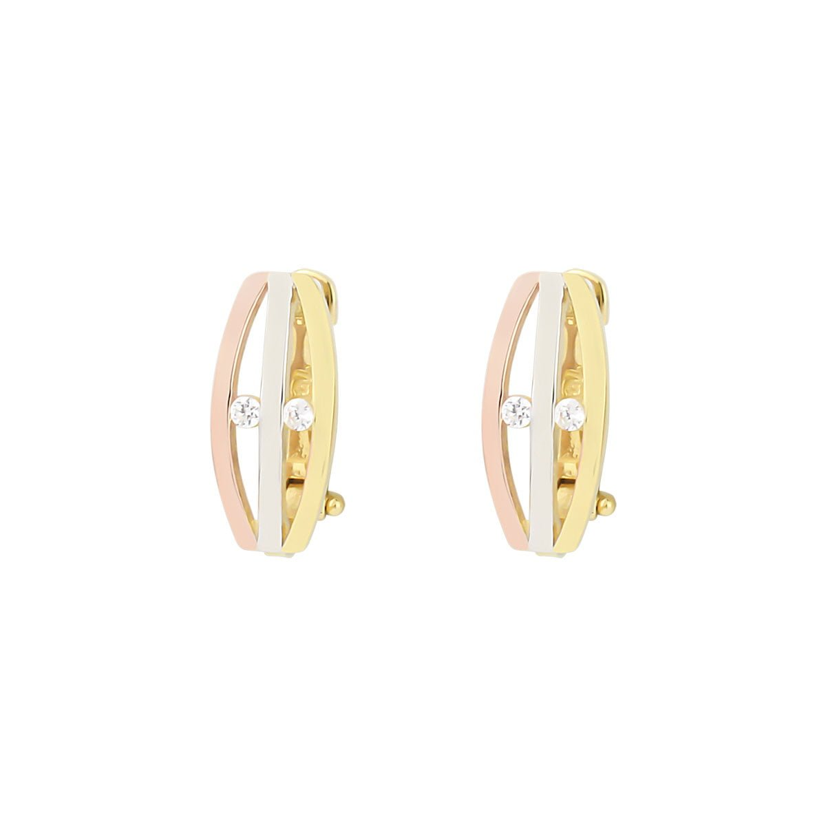 Cali Trio 18ct White, Rose & Gold Clip On Earrings