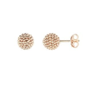 Side View Of Auric Love 18ct Rose Gold Sphere Earrings