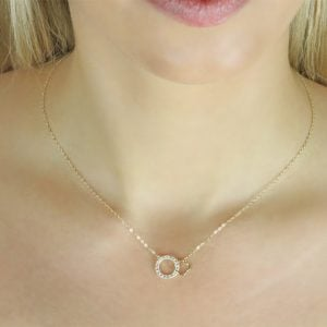 Gia Dream Cloud 18ct Gold Pendant Necklace On A Model