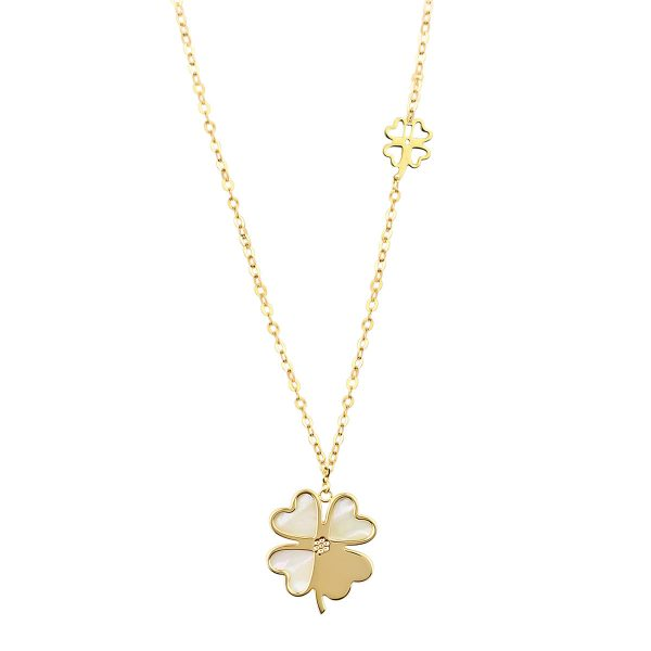 Auric Pearl Four-leaf Clover 18ct Gold Pendant Necklace
