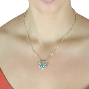 18ct Yellow Gold Turquoise Circle Pendant Necklace