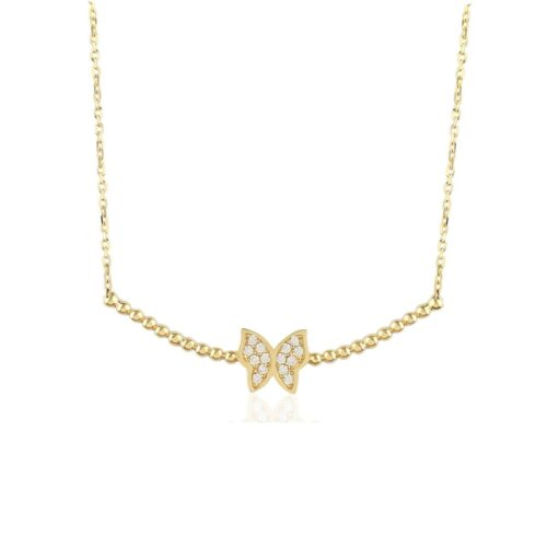 Gia Butterfly Gold Pendant Necklace