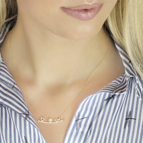 Gia Maya 18ct Gold Pendant Necklace Around A Models Neck