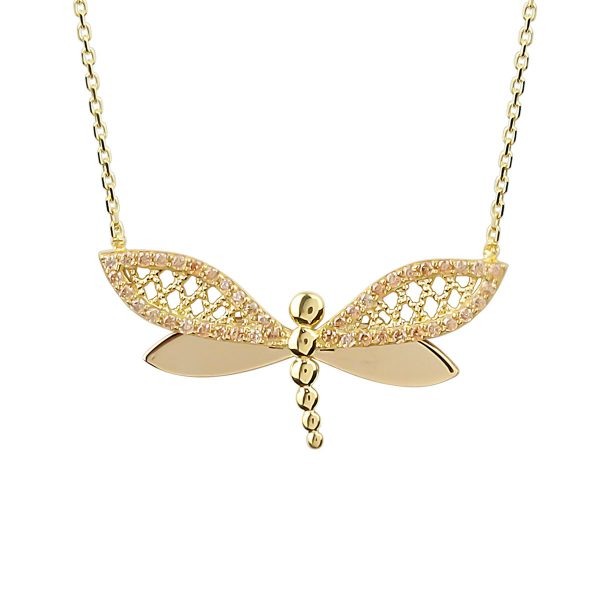 Up Close View Of Cali Dragonfly 18ct Gold Pendant Necklace