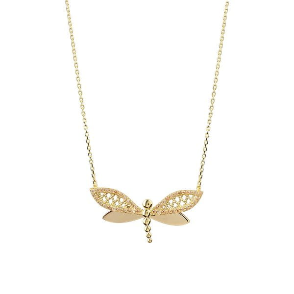 Cali Dragonfly 18ct Gold Pendant Necklace