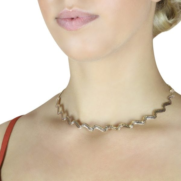 Close Up View Of Auric Cora 18ct Rose Gold Necklace On A Models Neck