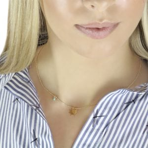Aria Sun 18ct Gold Pendant Necklace Worn By Model