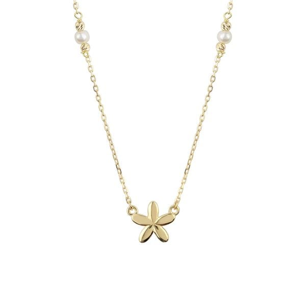 Pearl Flower 18ct Gold Pendant Necklace
