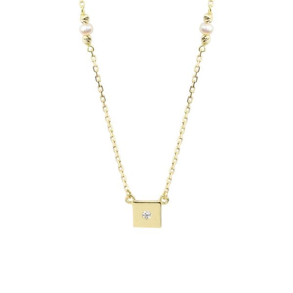 Pearl Square 18ct Gold Pendant Necklace