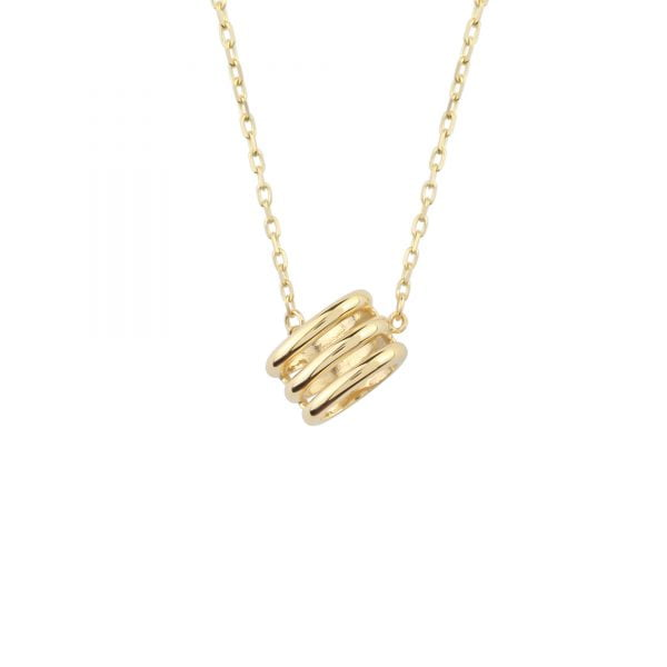 Close Up View Of Noemi Honeycomb 18ct Gold Pendant Necklace