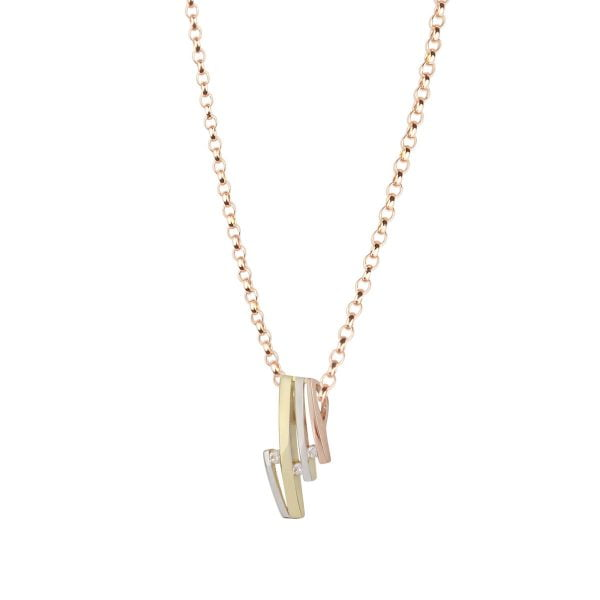 Cali Rose 18ct White, Rose & Gold Pendant Chain Necklace