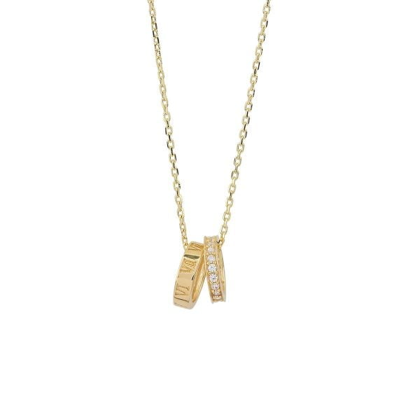 Gia Double Love 18ct Gold Pendant Necklace On A Gold Chain