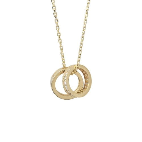 Gia Double Love 18ct Gold Pendant Necklace