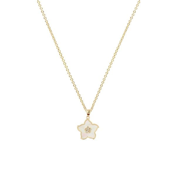 Pearl Flower 18ct Gold Pendant With A Gold Chain