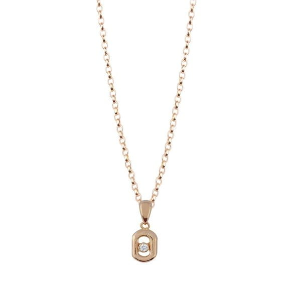 Cali Mini 18ct Rose Gold Pendant Charm With A Gold Chain